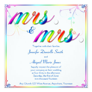 Elegant Rainbow Floral Mrs. Wedding Invitation