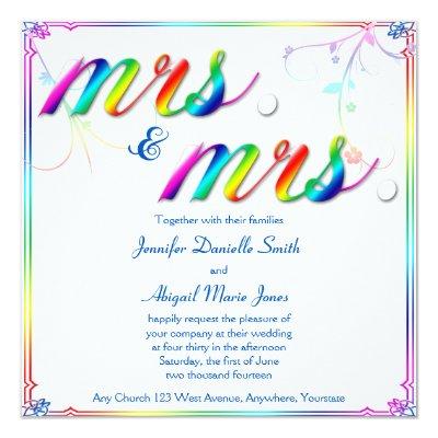 Mrs Mrs Rainbow Lesbian Wedding Invitation Zazzlecom