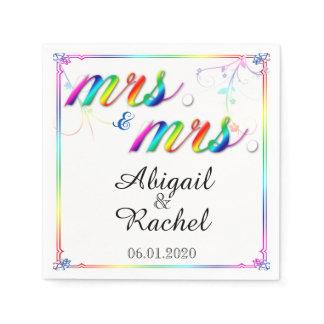 Elegant Rainbow Floral Mrs Wedding Napkin