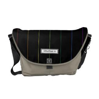 Elegant Rainbow Pinstripes Custom Name Courier Bag