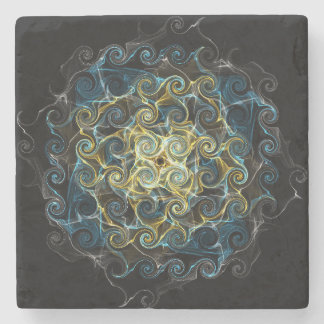 Elegant Raindrops Patterned Stone Coaster