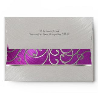 Elegant Raspberry Pink Silver Filigree Envelope