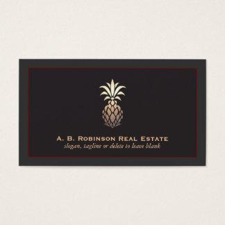 Elegant Real Estate Agency Pineapple Logo Business Card