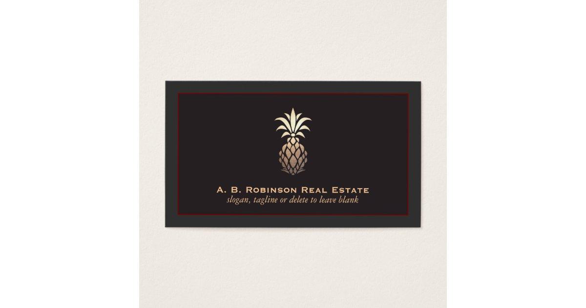 Elegant Real Estate Agency Pineapple Logo Business Card ...