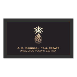 Elegant Real Estate Agency Pineapple Logo Double-Sided Standard Business Cards (Pack Of 100)