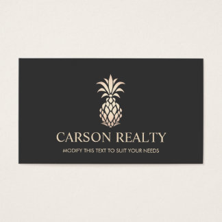 Elegant Real Estate Pineapple Logo Business Card
