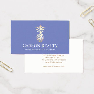 Elegant Real Estate Pineapple Logo Periwinkle Business Card