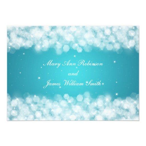 Elegant Reception Party Sparkle Turquoise Custom Invite