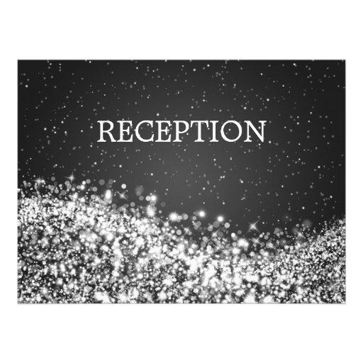 Elegant Reception Sparkling Wave Black Custom Announcement