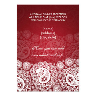 Elegant  Reception Star Paisley Lace Red Card