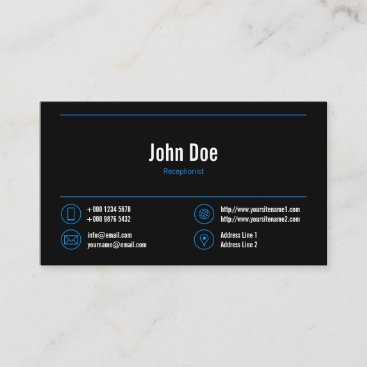Elegant Receptionist Logo Blue Lines Icons Black Business Card