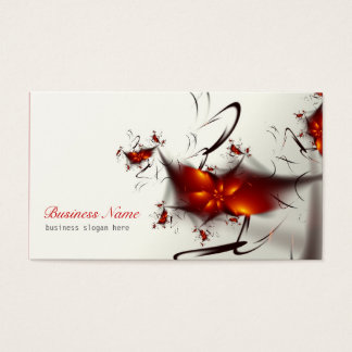 Elegant Red Abstract Floral Business Card
