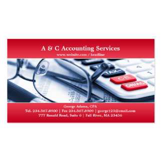 Elegant Red Accounting Business Card