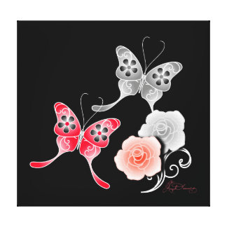 Elegant Red And Black Butterflies And Roses Gallery Wrapped Canvas