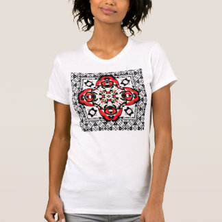 Elegant Red and Black Christmas Damask Ornament Tee Shirt