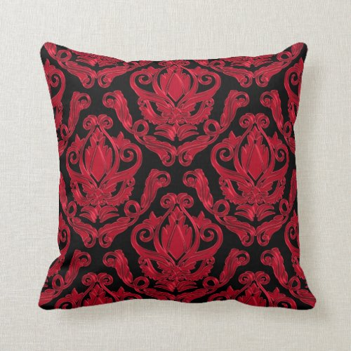 Elegant Red and Black Damask Print Throw Pillow