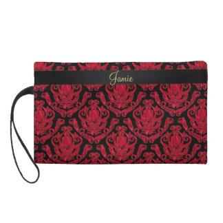 Elegant Red and Black Damask Print Wristlet