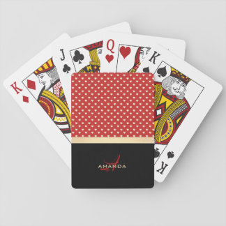 Elegant Red and Black, Golden Hearts Name Monogram Playing Cards
