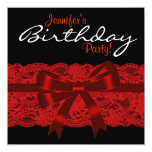 Elegant Red and Black Lace Birthday Party Invite