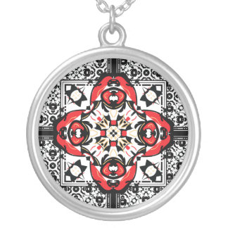 Elegant Red and Black Oriental Damask Symbol Round Pendant Necklace