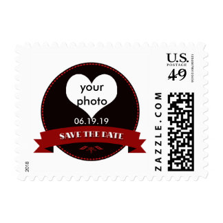Elegant Red and Black Save the Date Postage