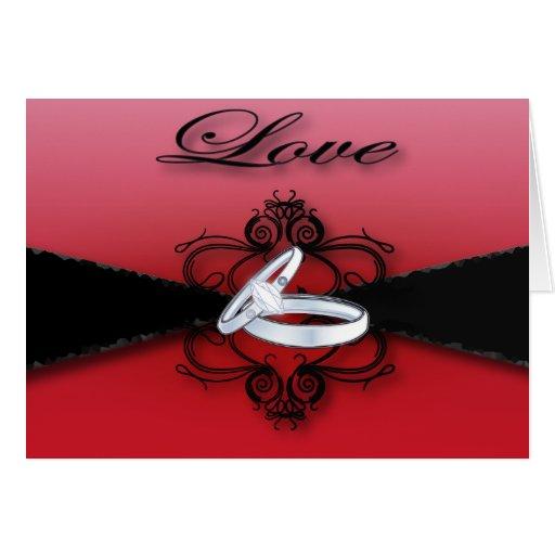 Elegant Red and Black Wedding Invitation Card