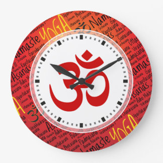 Elegant  Red and Black Yoga Om Symbol Large Clock