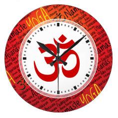 Elegant Red and Black Yoga Om Symbol Wall Clocks