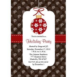 Elegant Red and Brown Holiday Party Invitations invitation