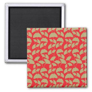 Elegant Red and Brown Leaf Pattern Gifts Magnet