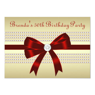 Elegant Red and Gold 50th Birthday Party Custom Invitation