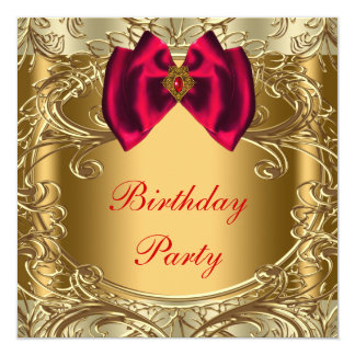 Elegant Red and Gold Birthday Party Card