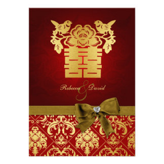 Elegant Red and Gold Chinese Double Happiness Custom Invitations