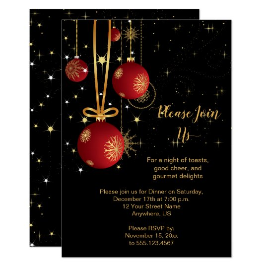 Christmas Invitation Background Gold.Elegant Red And Gold Christmas On Black Party Invitation