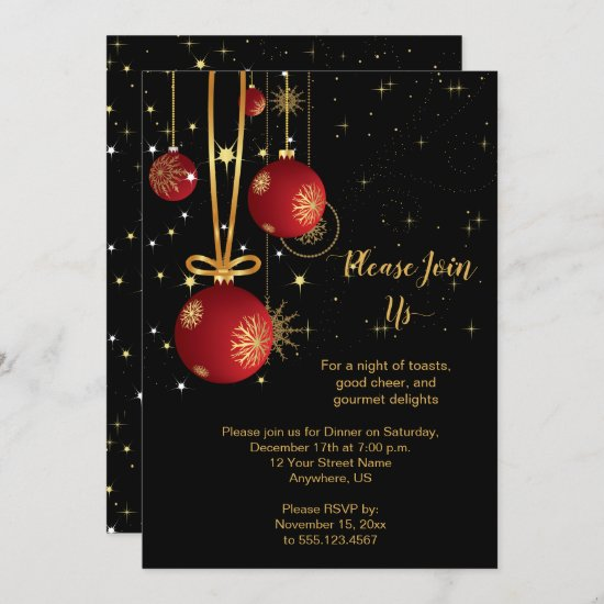 Elegant Red and Gold Christmas on Black Party Invitation