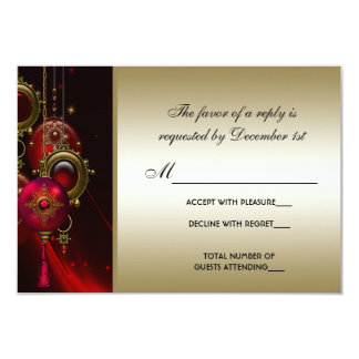 Elegant Red and Gold Christmas Party RSVP Card