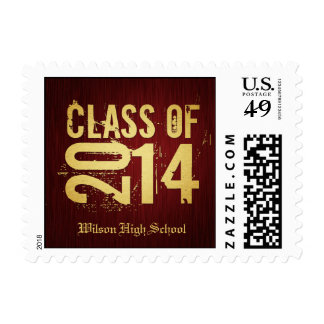 Elegant red and gold class of 2014 Graduation Postage