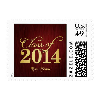 Elegant red and gold Class of 2014 Postage Stamp