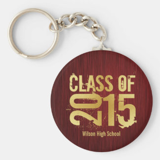 Elegant Red and Gold Class of 2015 Graduation Basic Round Button Keychain