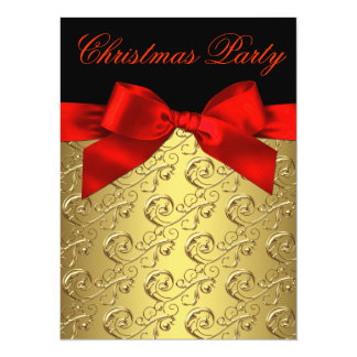 "Elegant Red and Gold Corporate Christmas Party 5.5"" X 7.5"" Invitation Card"