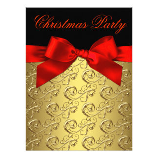 Elegant Red and Gold Corporate Christmas Party Announcements