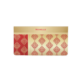 Elegant Red and Gold Damask Checkbook Cover