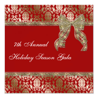Elegant Red and Gold Damask Holiday Party Invite