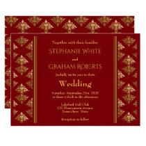 Elegant Red and Gold Damask Patterned Wedding Invitation