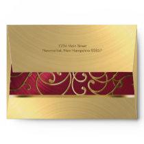 Elegant Red and Gold Filigree Envelope