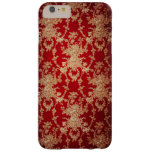 Elegant Red and Gold Floral Damask Barely There iPhone 6 Plus Case