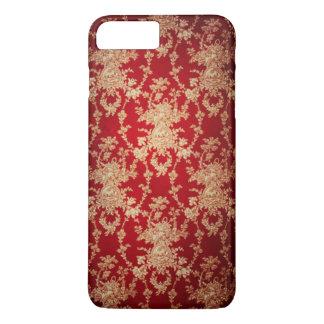 Elegant Red and Gold Floral Damask iPhone 7 Plus Case