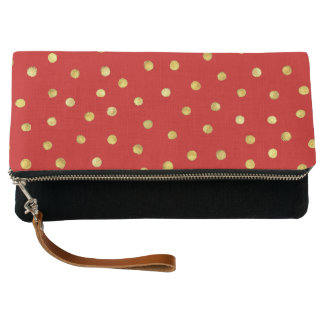 Elegant Red And Gold Foil Confetti Dots Pattern Clutch