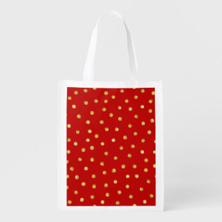 Elegant Red And Gold Foil Confetti Dots Pattern Grocery Bag