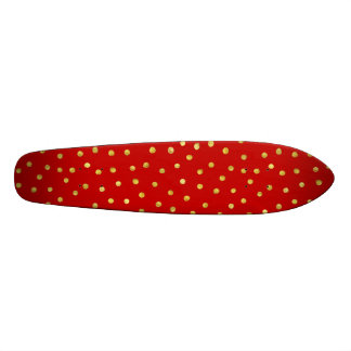 Elegant Red And Gold Foil Confetti Dots Pattern Skateboard Deck